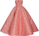 Oscar de la Renta Strapless Floral Tea Length Gown