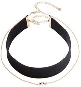 Dogeared Nested Faux Leather Choker Necklace