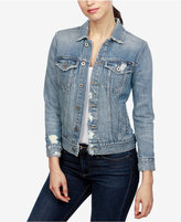 Lucky Brand Ripped Cotton Denim Jacket