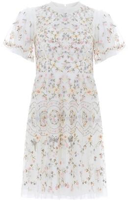 Needle & Thread Sweet Petal cream embroidered tulle dress