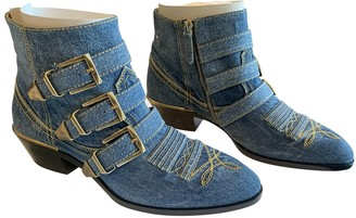Chloé Susanna Blue Cloth Ankle boots