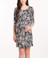 Black & White Leaf Shift Maternity Dress