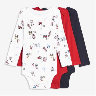 Joe Fresh Baby Boys' 3 Pack Bodysuits, White (Size 6-12)