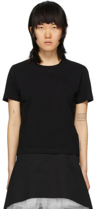 MM6 MAISON MARGIELA Black Embroidered Logo Fitted T-Shirt