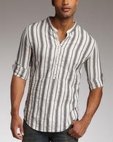 Rogue Striped Mandarin-Collar Shirt