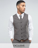 Noak Skinny Wedding Suit Vest In Linen Nepp