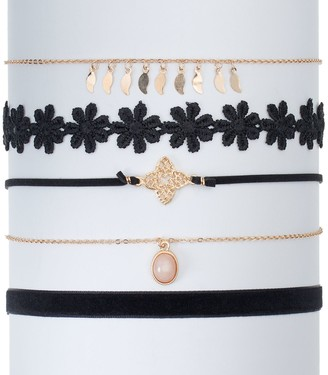 So Flower, Quatrefoil & Velvet Choker Necklace Set