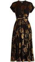Rochas Floral fil-coupé crepon midi dress