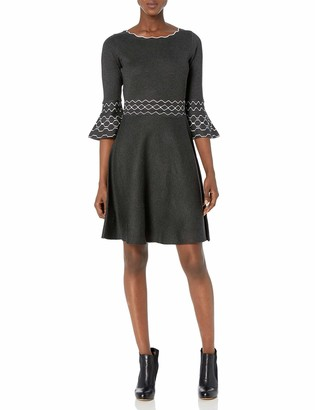 Gabby Skye Women's 3/4 Bell Sleeve Scoop Neck Printed Fit and Flare Sweater Dress