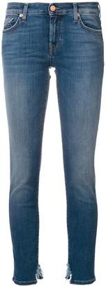 7 For All Mankind distressed hem slim-fit jeans