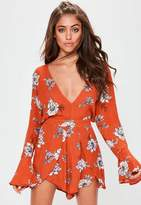 Missguided Orange Printed Cheesecloth Plunge Romper