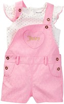 Juicy Couture Lace Shortall & Foil Print Top Set (Baby Girls 0-9M)