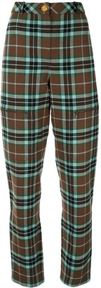 Chanel Pre Owned Plaid Tapered Trousers