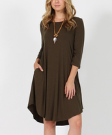Dark Olive Three-Quarter Sleeve Side-Pocket Swing Tunic Dress