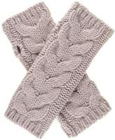 Black Blush Thick Cable Cashmere Wrist Warmers