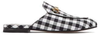 Gucci Princetown Gingham Backless Loafers - Black White