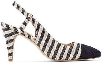 Anne Weyburn Striped Open Toe Sling Back Heels
