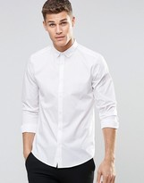 Asos Regular Fit Smart Shirt In White With Button Down Collar And Long Sleeves
