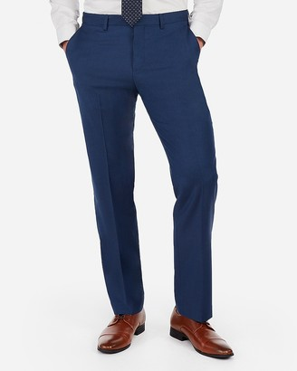 Express Classic Blue Wool-Blend Stretch Suit Pant