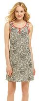 Amy Byer Henley Scoopneck Patchwork Zebra Print Dress
