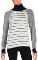 Calvin Klein Contrast-Trim Striped Turtleneck Sweater