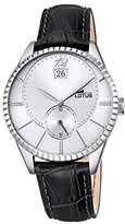 Lotus Men's Quartz Watch with Silver Dial Analogue Display and Black Leather Strap 18322/1