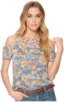 Lucky Brand Floral Print Tie Cold Shoulder Top Women's Short Sleeve Pullover