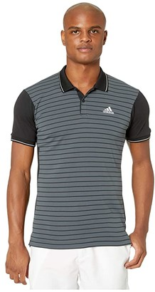 adidas Heat.Rdy Striped Polo Shirt (Black) Men's Clothing