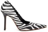 Vetements Toe-cap Zebra-print Leather Pumps - Womens - Black White