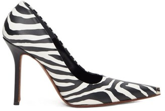 Vetements Toe-cap Zebra-print Leather Pumps - Black White