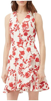 Rebecca Taylor Sleeveless Scarlet Wrap Dress (Ivory/Red Coral) Women's Clothing