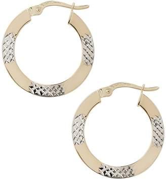 Fine Jewellery 14K Yellow And White Gold Diamond Cut Hoop Earrings