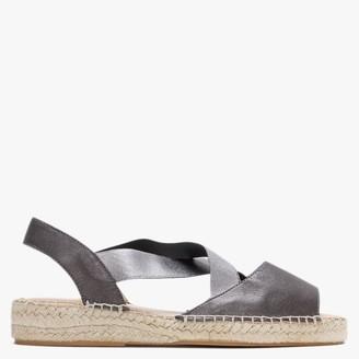 Carmen Saiz Silver & Pewter Leather Elasticated Cross Strap Espadrilles Sandals