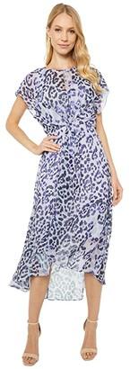 Adrianna Papell Watercolor Leopard Twist Dress (Purple Multi) Women's Dress