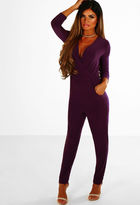 Pink Boutique Double Duchess Purple Slinky Wrap Jumpsuit