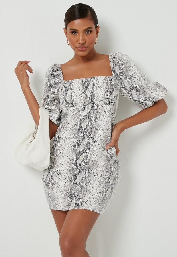 Missguided White Faux Leather Snake Print Puff Sleeve Mini Dress