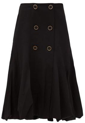 J.W.Anderson Mid-rise Wool-gabardine Bubble-hem Skirt - Black