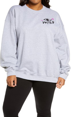BP Vote Crew Neck Graphic Knit Sweatshirt