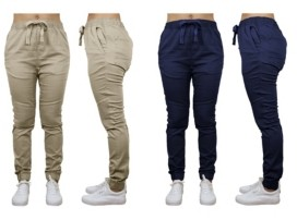 Galaxy By Harvic Women's Loose Fit Twill Cotton Stretch Moto Jogger - 2 Pack