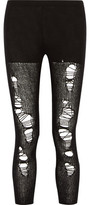 R 13 Open Knit-Paneled Distressed Cashmere Leggings