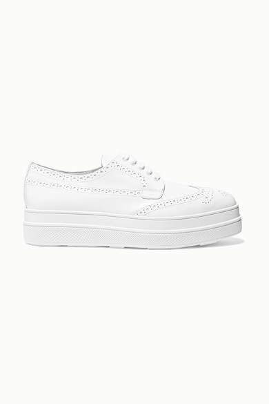 Prada Leather Platform Brogues - White
