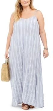 Raviya Plus Size Sleeveless Striped Cotton Cover-Up Maxi Dress Women's Swimsuit