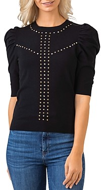 Belldini Embellished Puff Sleeve Sweater