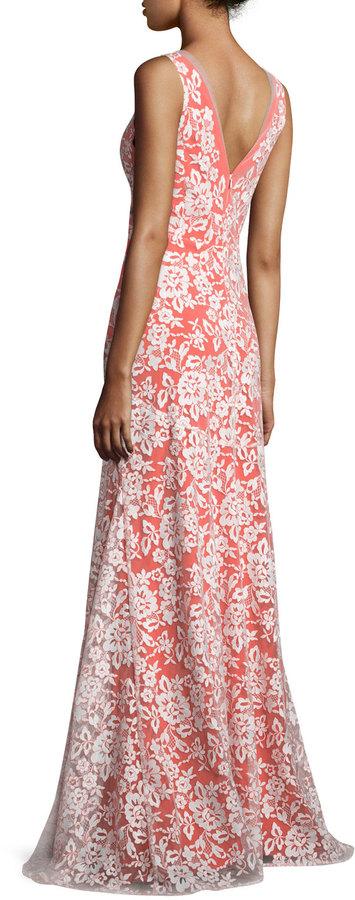 Erin Fetherston Sleeveless V-Neck Gown W/Embroidered Lace Overlay, Ivory/Orange