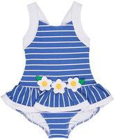 Florence Eiseman Striped Jacquard Skirted Swimsuit, Blue, Size 2-6X