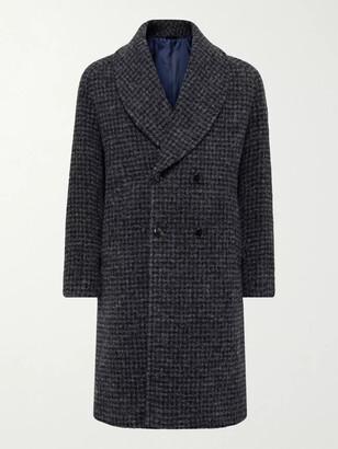 MP Massimo Piombo Robbie Shawl-Collar Double-Breasted Checked Alpaca-Blend Coat - Men - Gray