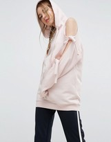 Asos Hoodie With Knot Detail And Cold Shoulder