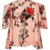 River Island Womens Plus pink floral print bardot top