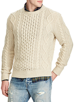 Polo Ralph Lauren Long Sleeve Aran Crew Neck Jumper, Cream