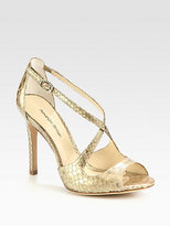 Alexandre Birman Metallic Python Crisscross Sandals
